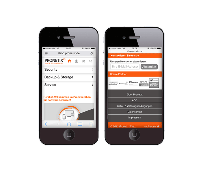 Mobile Web-App - Online-Shop PRONETIX Aachen